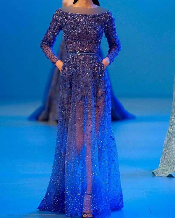 مدل لباس مجلسی لمه آبی