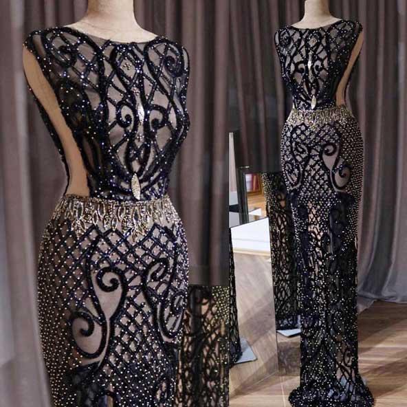مدل لباس مجلسی مشکی طرح دار