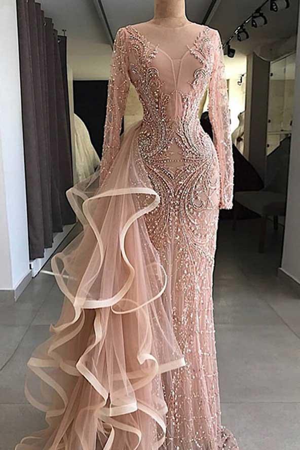 لباس مجلسی مجلل آستین بلند 2019 با رنگ صورتی روشن