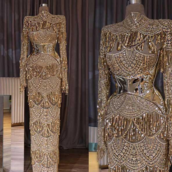 لباس مجلسی کارشده بلند