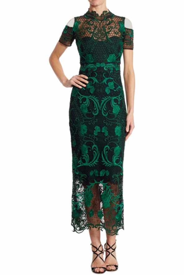 مدل جدید لباس مجلسی بلند گیپور سبز