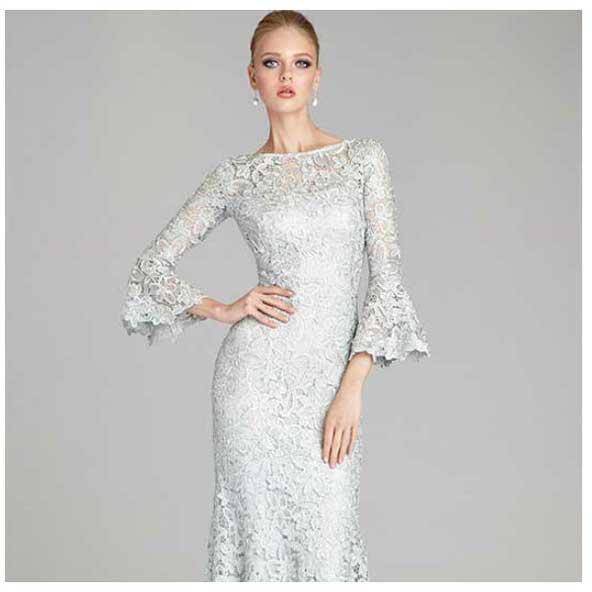 مدل لباس مجلسی بلند دخترانه گیپور سفید رنگ 2019 با آستین های جدید کلوش