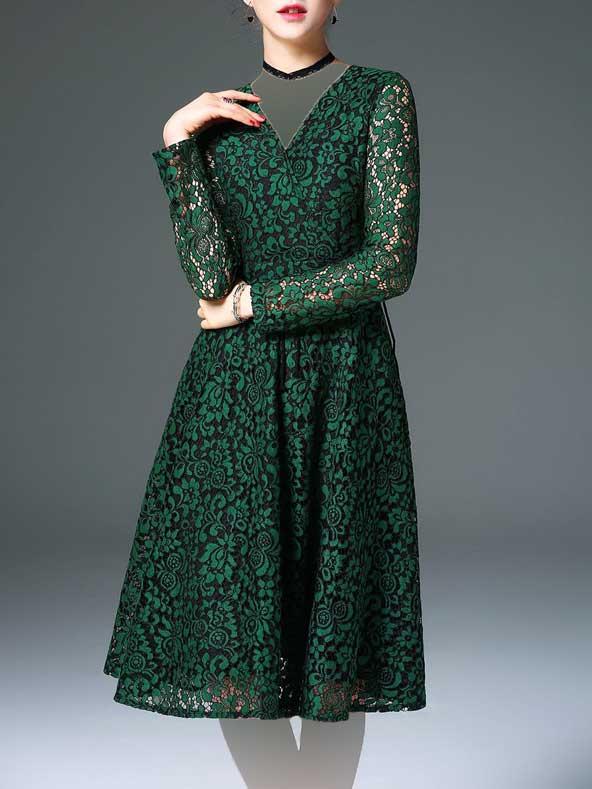 جدیدترین مدل لباس مجلسی گیپور سبز
