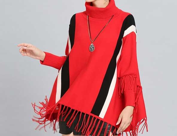 مدل شنل ریش ریش قرمز رنگ پاییزی