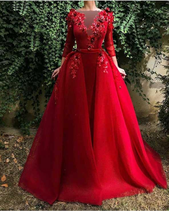 مدل لباس مجلسی بلند گل برجسته 2019