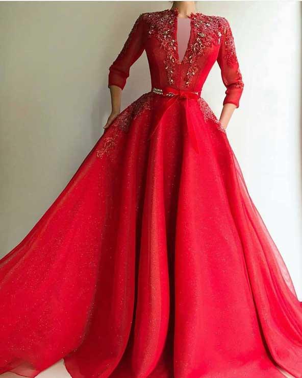 مدل لباس مجلسی بلند 2019 کارشده