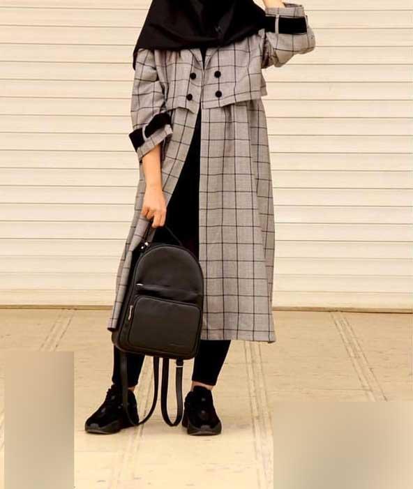 مدل مانتو دانشجویی چهارخونه بسیار شیک 2019