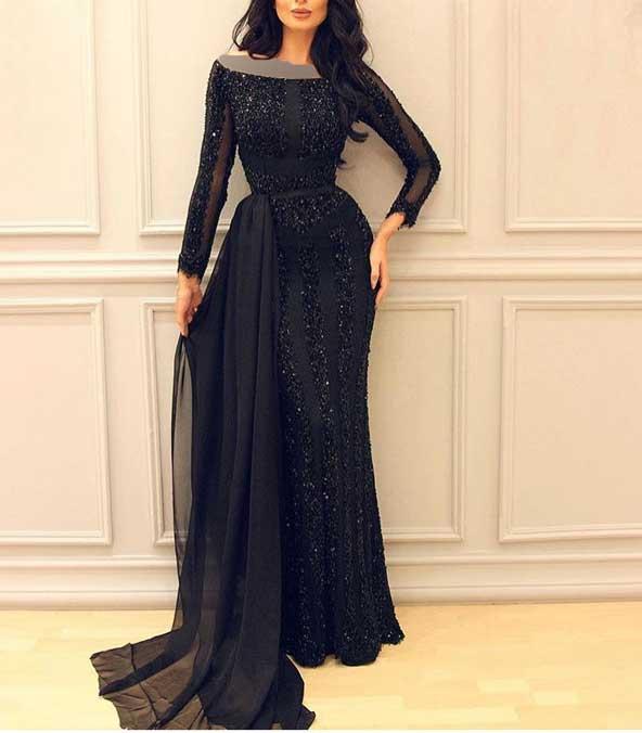 مدل لباس مجلسی بلند لمه 2019