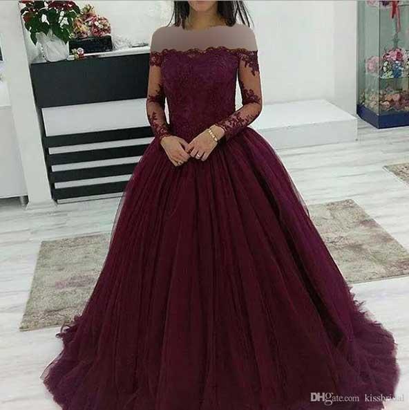 لباس مجلسی گیپور بلند دخترانه 2019 پف دار آستین بلند برای جشن ها و مهمانی های خاص