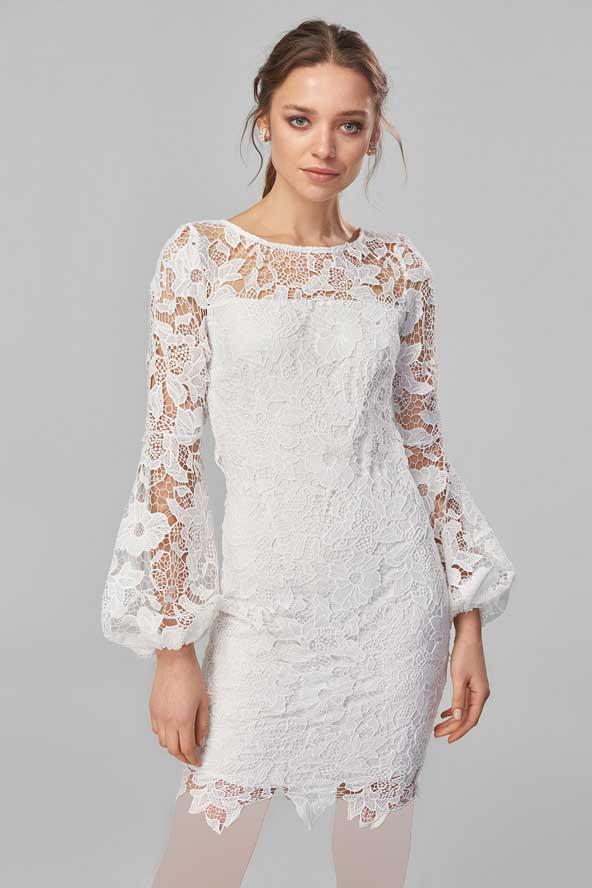 مدل لباس مجلسی گیپور سفید کوتاه جدید