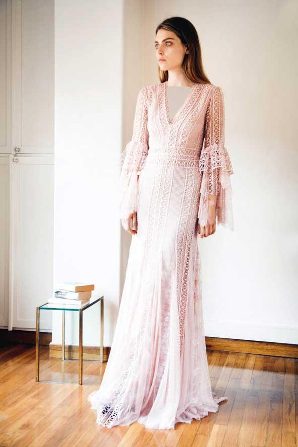 مدل لباس مجلسی گیپور آستین بلند 2019