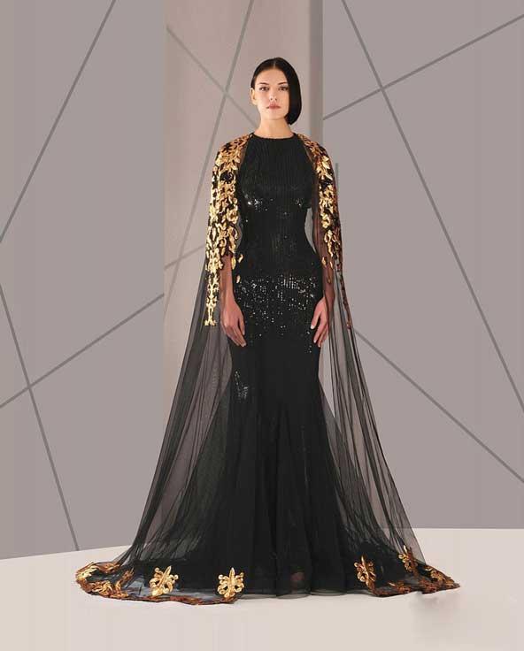 مدل لباس مجلسی پوشیده 2019 زنانه با پارچه لمه