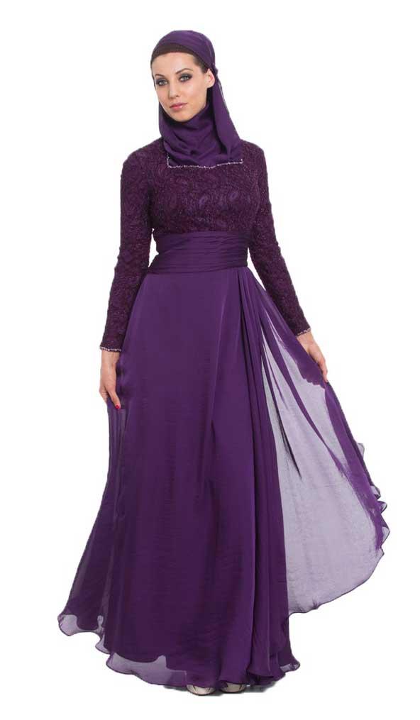 لباس مجلسی زنانه پوشیده 2019 با حریر و گیپور