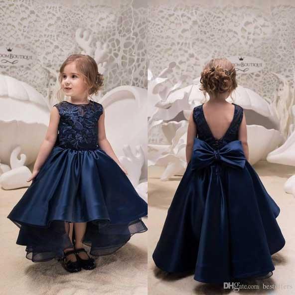 لباس مجلسی دختر بچه ساتن با گیپور 98