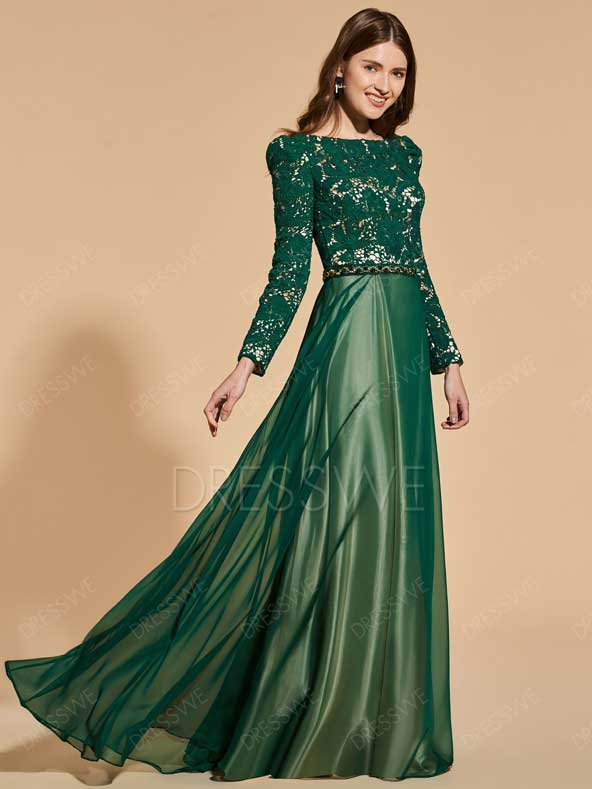 مدل لباس مجلسی ساتن و گیپور آستین دار جدید