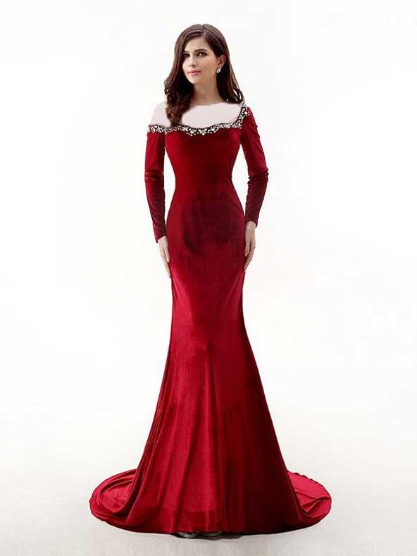 مدل لباس مجلسی 2019 با پارچه مخمل قرمز