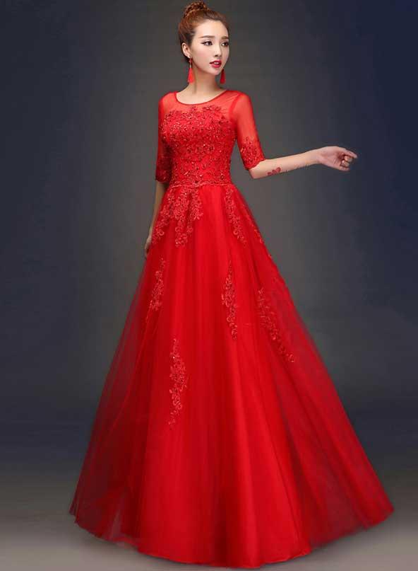 مدل لباس های جدید مجلسی بلند استین دار حریر و گیپور