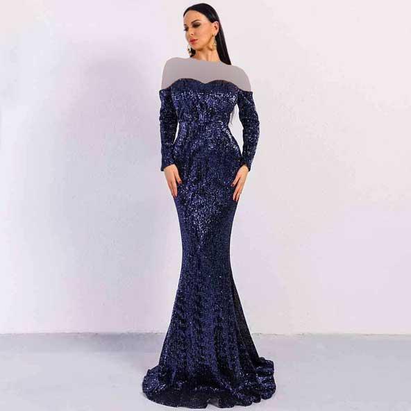 لباس مجلسی لمه آستین دار مدل ماهی شیک 2019