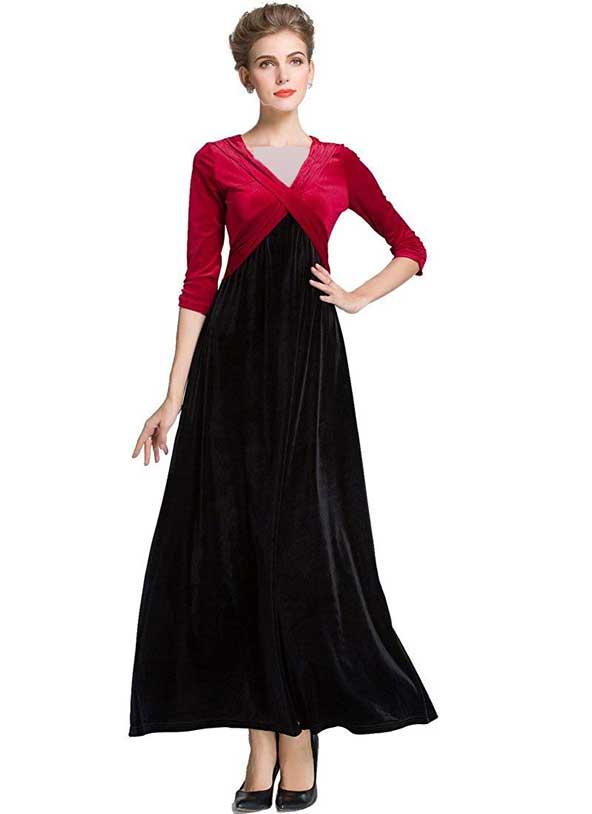لباس مخمل مجلسی دورنگ زنانه 2019