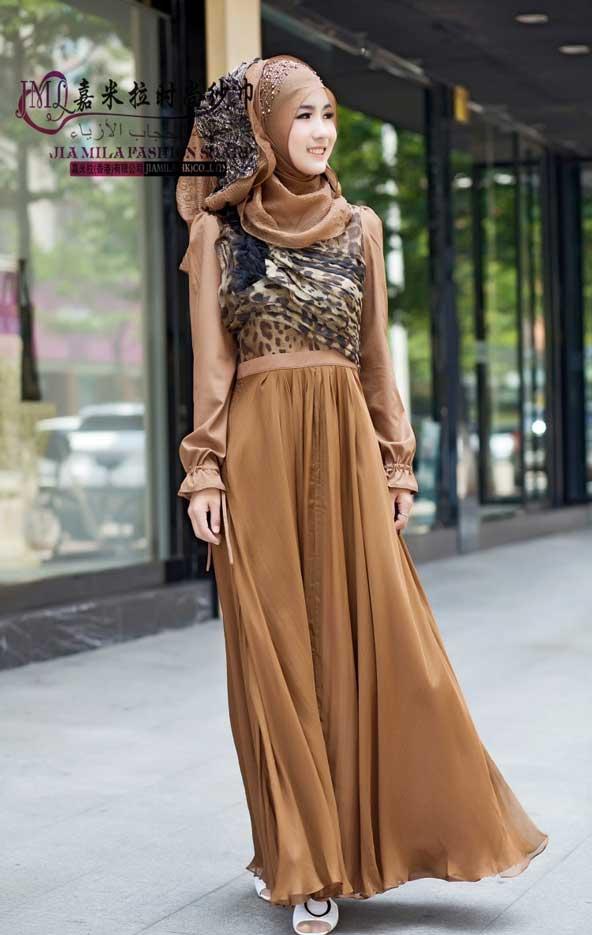مدل لباس مجلسی پوشیده طرح پلنگی 2019