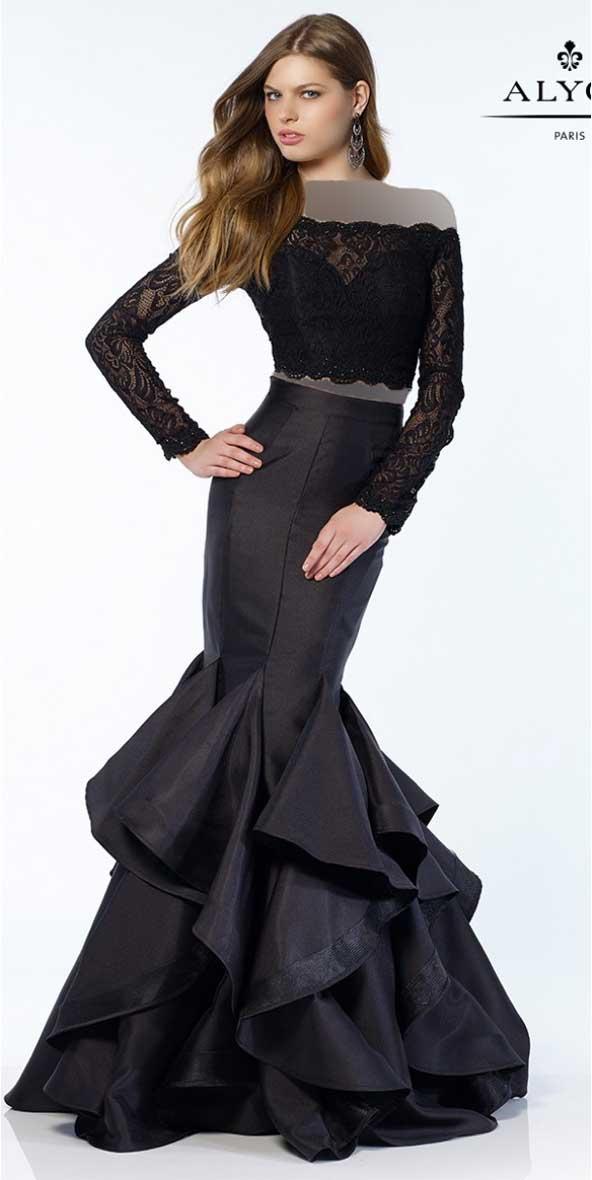 لباس مجلسی زنانه دو تیکه دامن کلوش آستین دار 98