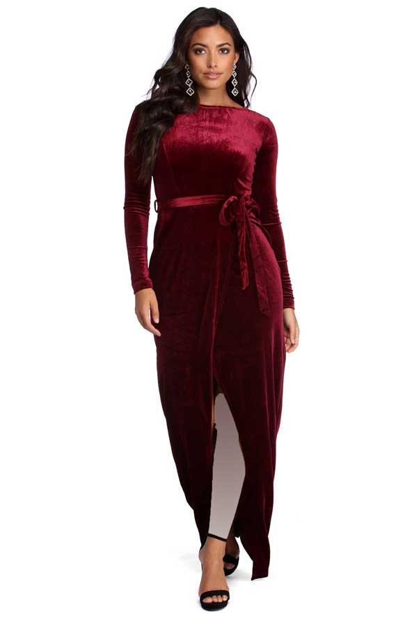 لباس مجلسی چاکدار مخمل 2019