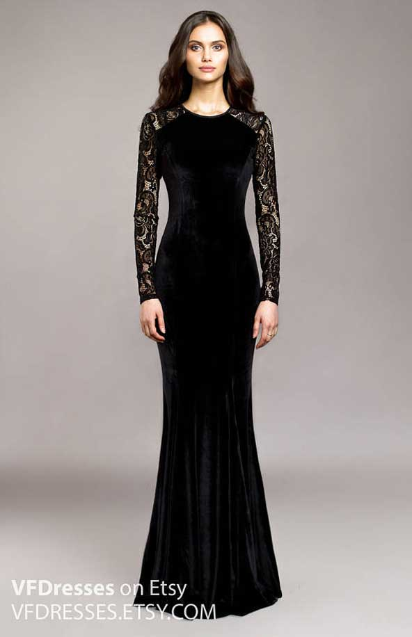مدل جدید لباس مجلسی مخمل پوشیده زنانه