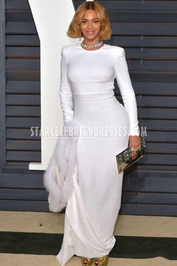 لباس مجلسی سفید مدل اروپایی 2019 آستین دار
