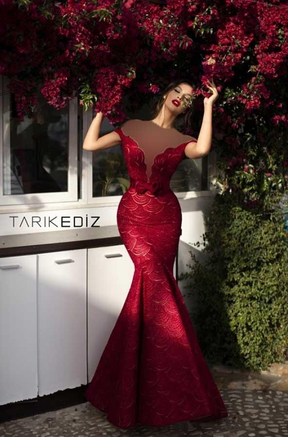 مدل لباس مجلسی ترک دخترانه 2019 از برند تارکدیز با یقه باز