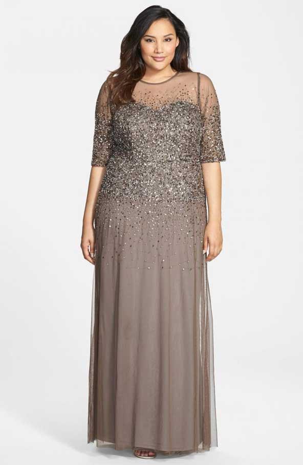 مدل لباس مجلسی کار شده زنانه سایز بزرگ برای چاق ها