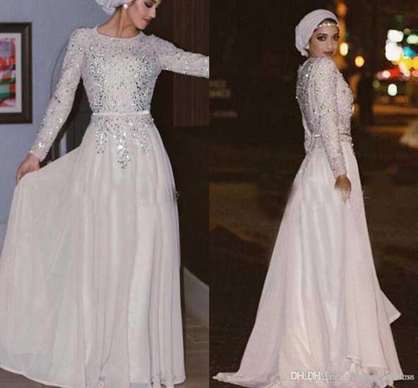 مدل لباس مجلسی پوشیده اسلامی سفید دخترانه 2019