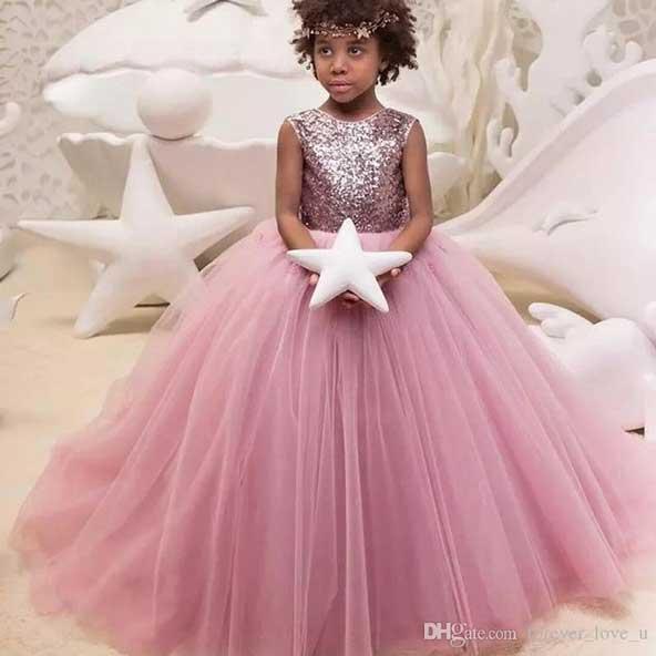 لباس بچه گانه مجلسی دخترانه 2019 بالاتنه لمه با دامن پرنسسی