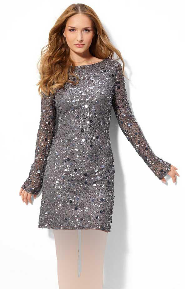 مدل لباس مجلسی پولکی استین دار زنانه 98