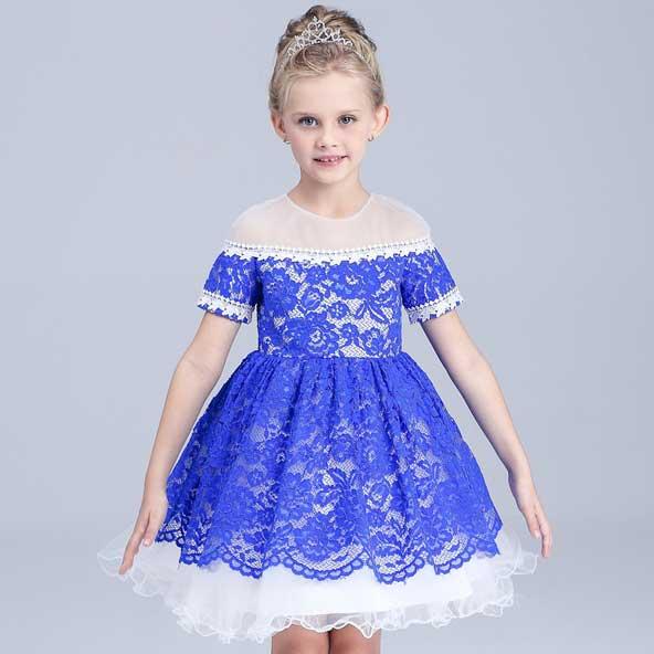 مدل لباس بچه گانه آستین کوتاه گیپور دخترانه 2019