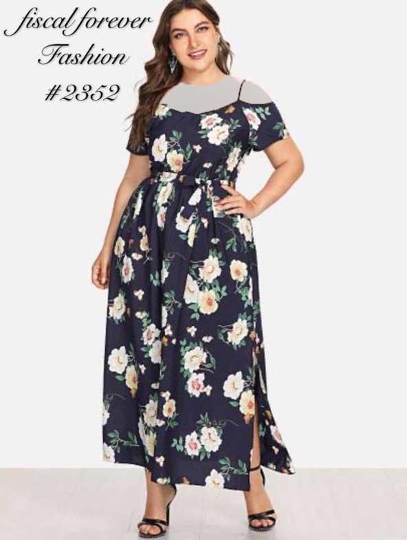 لباس گلدار مجلسی زنانه سایز بزرگ 98