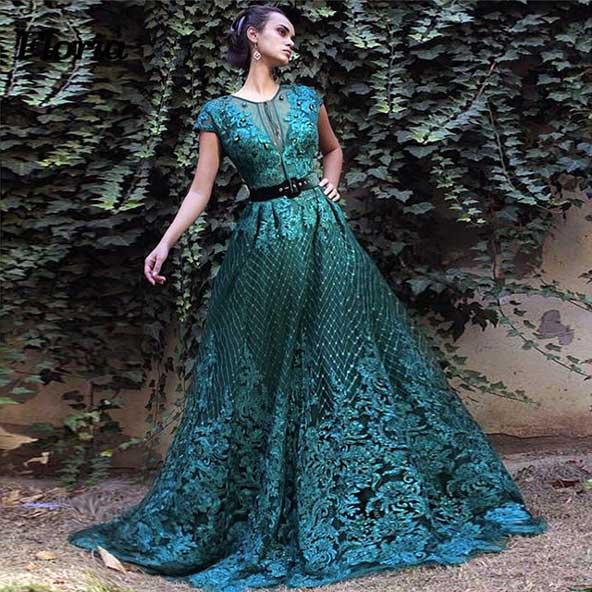 لباس مجلسی بلند ترکیه ای سبز رنگ 2019 زنانه پوشیده