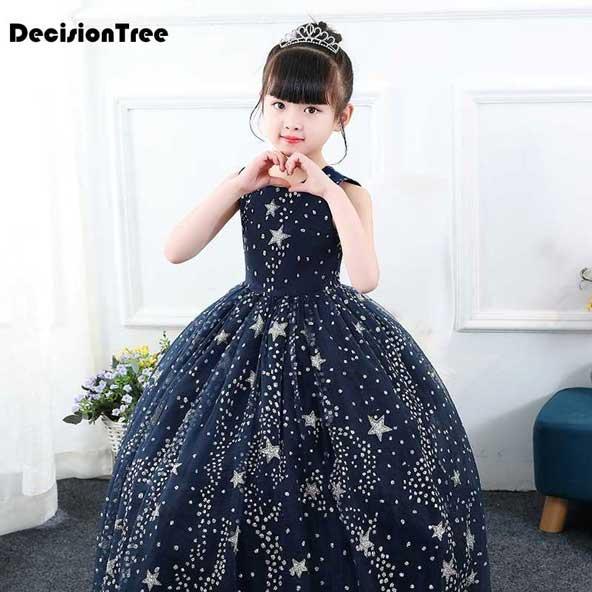 مدل لباس مجلسی جدید بچه گانه دخترانه بلند 2019 با طرح ستاره