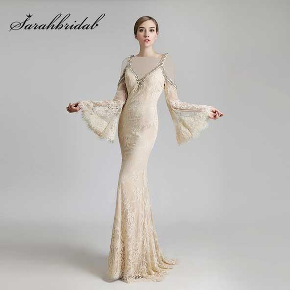مدل لباس مجلسی ماهی آستین بلند کلوش 2019 دخترانه