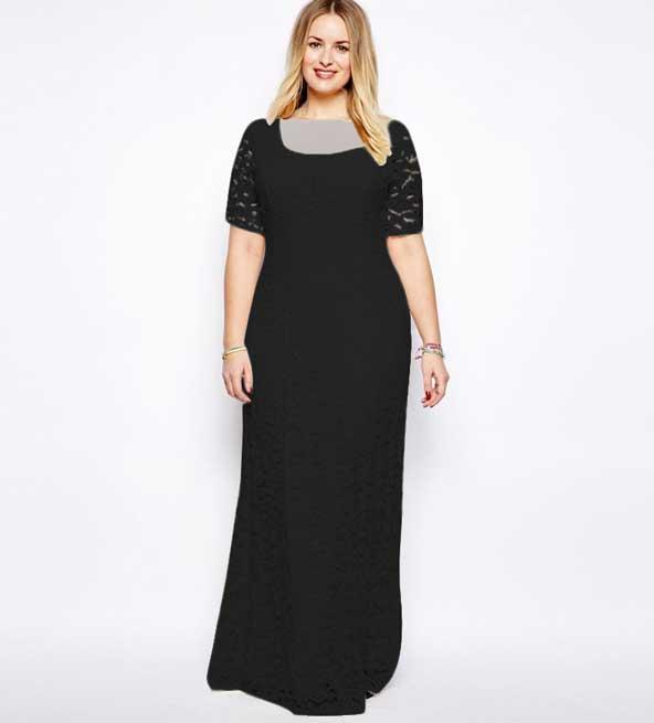 لباس مجلسی مشکی جدید برای خانم چاق
