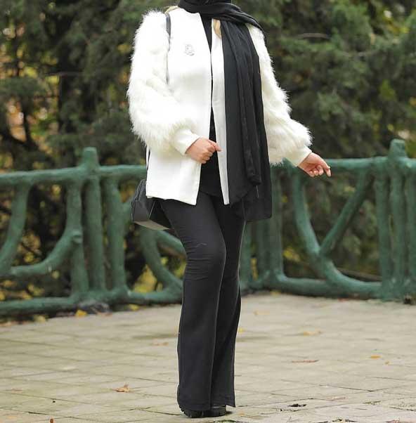 مدل مانتو سفید رنگ کوتاه جلو باز 2019 زمستانی