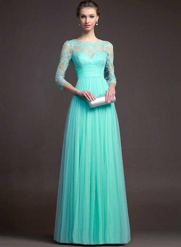 مدل لباس مجلسی آستین دار 2019 فیروزه ای