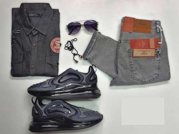 ست لباس مردانه اسپرت 2019 با شلوار و پیراهن لی و کتونی مشکی