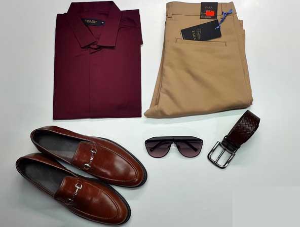 ست لباس مجلسی مردانه بسیار شیک 2019 با کفش کلاسیک و تیشرت ساده