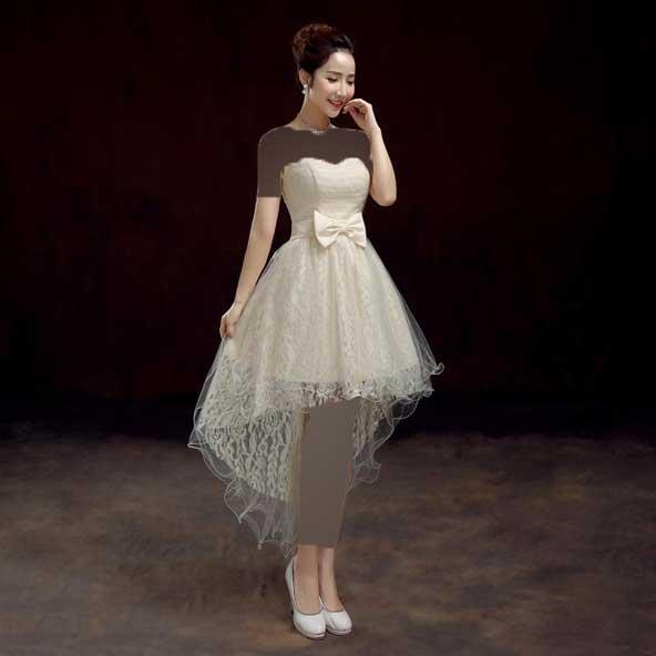 مدل لباس مجلسی جلو کوتاه پشت بلند کره ای 2019