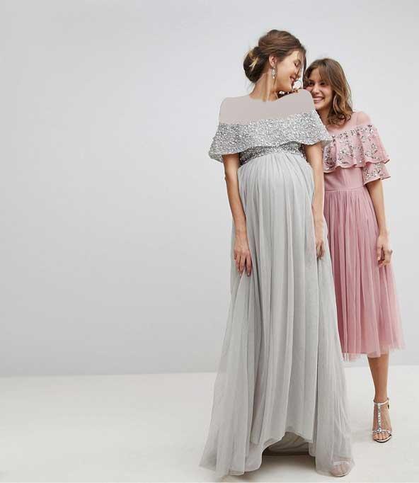 مدل لباس حریر کار شده مجلسی بارداری 2019