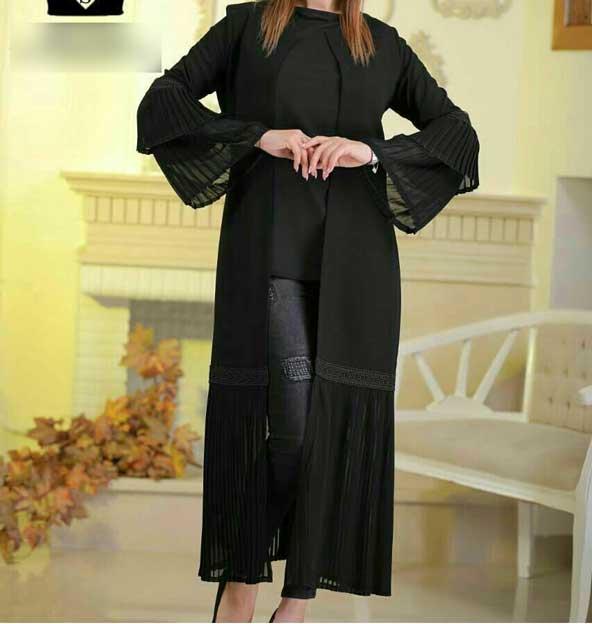 مدل مانتو کتی مشکی 2019 دخترانه شیک