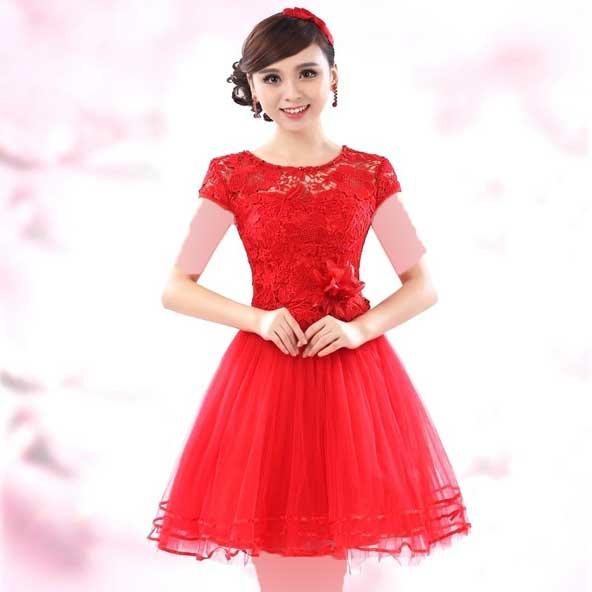 مدل لباس مجلسی گیپور قرمز رنگ 2019 کره ای