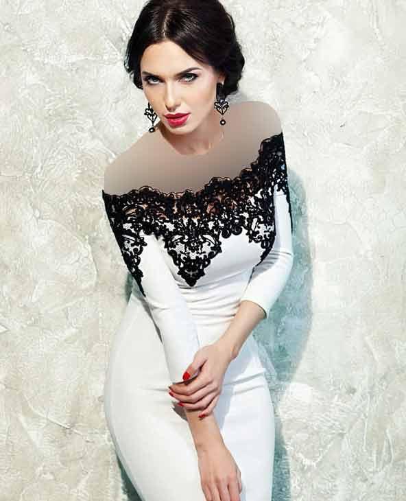 لباس مجلسی بالاتنه گیپور سفید مشکی 2019