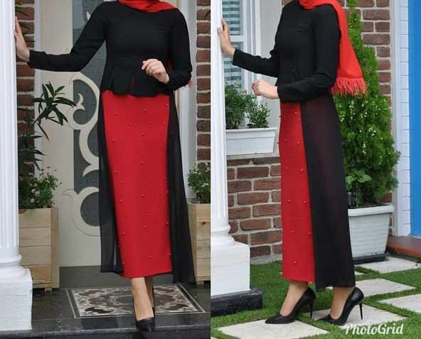 مدل مانتو دامن زنانه بلند 98 دو رنگ