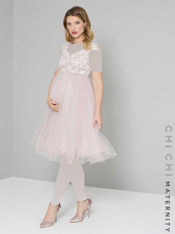 لباس مجلسی بارداری 2019 با تور و گیپور